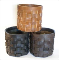 Woven leather bin