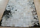 Cowhide rug, white, black speckles