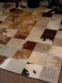 Cowhide rug, black-brown-creme