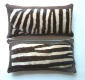 Zebra Cushions with leather frame, 20 x 45 cm
