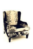 Smith Wingback Armchair, Nguni Cowhide