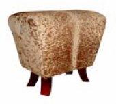 Brown and white Nguni Cowhide saddle ottoman