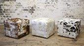 Cube Patchwork Ottoman, Nguni Cowhide