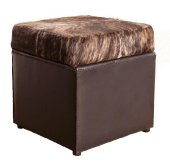 Cub Ottoman, leather and Nguni Cowhide