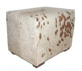 Creme colour speckled Nguni ottoman, rectangular