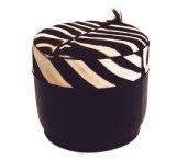Zebra Stool, leather base