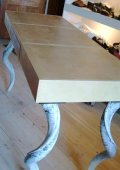 Creme leather desk or console table, white kuduhorn legs